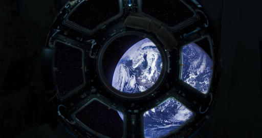 4K Spaceship Window / Space Travel / Planet Earth Footage