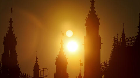 Westminster Palace Sunset Time Laspe Footage