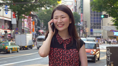 Japanese Woman Talking Cell Phone Footage