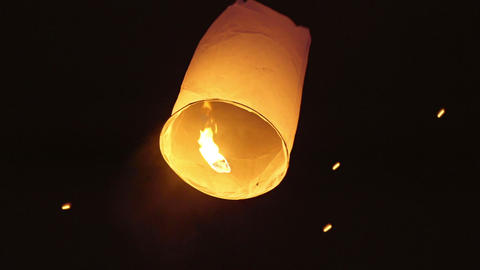 Asian Woman Releasing A Sky Lantern Footage
