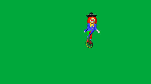 Clown on Unicycle (Green Screen): looping + Matte Animation
