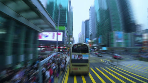 Dense Traffic on the Streets of Hong Kong. Fast Motion Footage