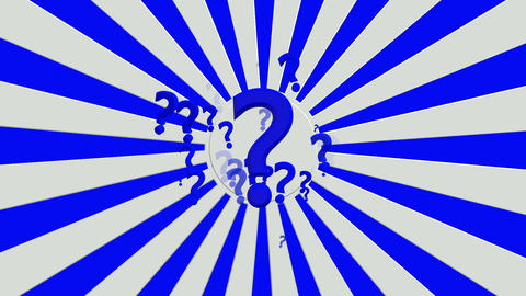 Rotating sunburst with question marks in blue and white colors Animation