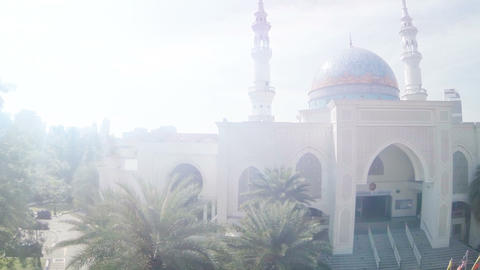 Abstract. Timelapse Flyby of Mosque in Hazy Light Footage