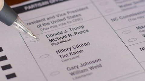An undecided voter changes his / her mind and votes for Hillary Clinton instead  Footage