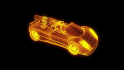 Sport Car in Hologram Wireframe Style. Nice 3D Rendering Animation