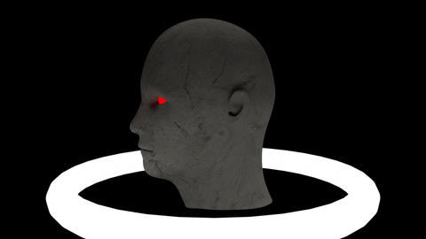 Sculpture head with red eyes Animation