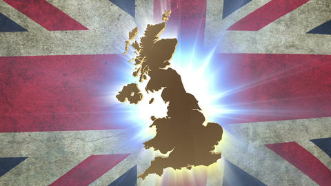 Map of United Kingdom with animated Union Jack on background Footage