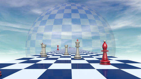 International relationships (chess metaphor). 3D video, Full HD Animation