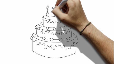 Cake Drawing Waitboard Animation Greeting Card Animation
