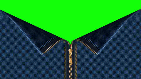Jeans denim zipper open set with green screen background Animation