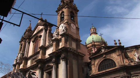 A Low Angle Of A Religious Building Below A Cloudy Blue Sky Palermo, Italy stock footage