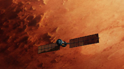 Satellite Over Red Mars Surface stock footage