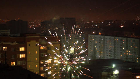 City In Fireworks stock footage