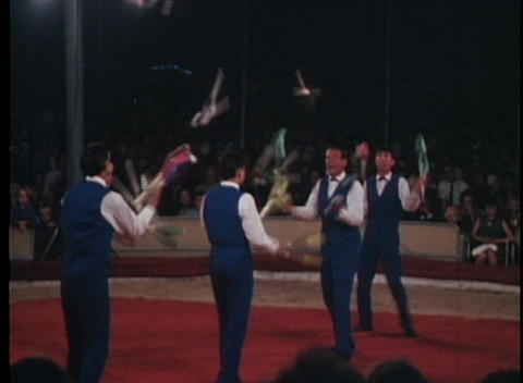 Jugglers Perform At A Circus In This Archival Shot stock footage