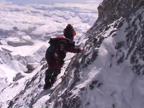 In the death zone near the summit of Everest - Climber navigates scary terrain Footage