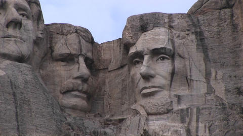 Presidents Theodore Roosevelt And Abraham Lincoln Are Featured In This Detail Of Mt. Rushmore stock footage