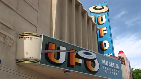 Medium Shot Of The Marquee For The UFO Museum In Roswell, New Mexico stock footage
