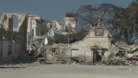 Collapsed Buildings Following The Haiti Earthquake stock footage