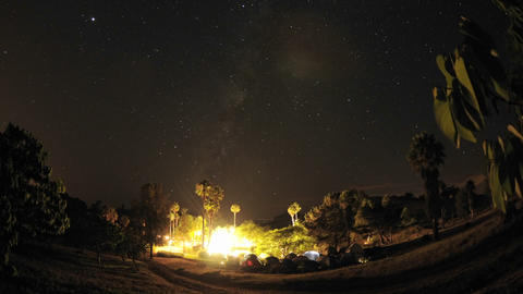 Night time lapse of a wedding campout in Gaviota, California Footage