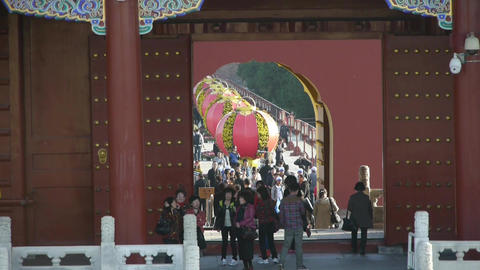 Tourists Visitors At Red Door,Chinese Red Lanterns.China's Ancient Architecture stock footage