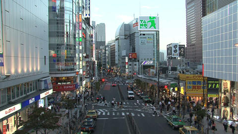 Shinjuku Crossroad End Day stock footage