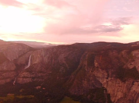 Glacier Point Panorama Sunset Pan 1 stock footage