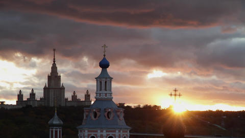 Moscow State Univercity At Sunset stock footage