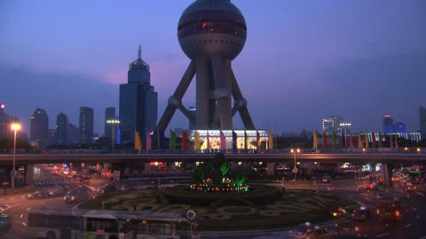 Oriental Pearl Tower Traffic Time Lapse stock footage
