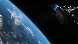 Satellite And Earth In Orbit stock footage