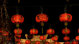 Chinese New Year Lanterns at Night Footage