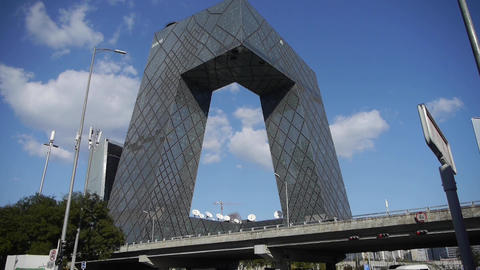 Beijing CCTV building,business building district in China Footage