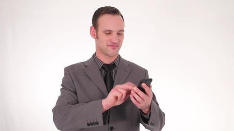 Businessman Writing A Text Message stock footage
