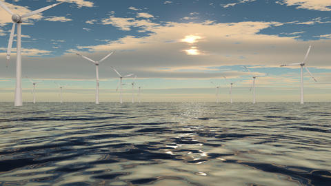 Windmills in a row on cloudy sea CG動画素材
