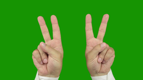 Hand Sign: The Symbol Of Victory. Alpha Channel Is Included stock footage