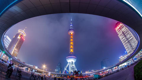 Night view of the East Pearl Tower under the Pedes Footage