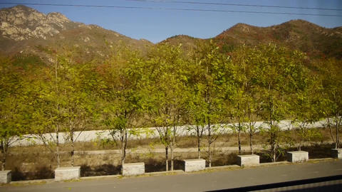 Autumn Mountain In Rural Countryside.Speeding Train Travel,scenery Outside Windo stock footage