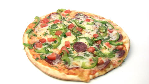 Pizza With Salami Rotate stock footage