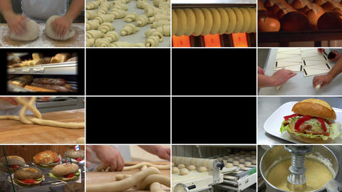 10880 Bakery Bread Montage Animated On Black stock footage