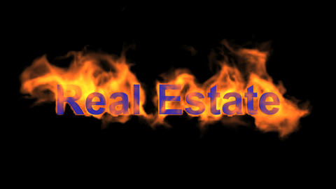 flame real estate word,fire text Animation