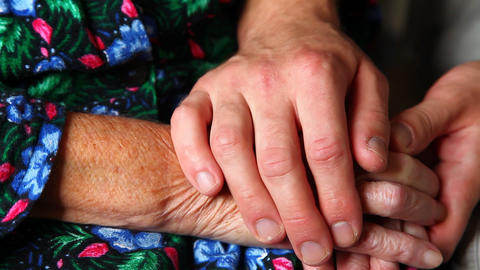 Elderly Hands stock footage