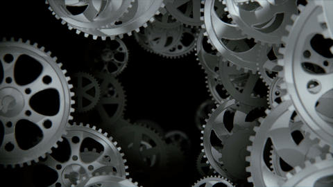 Camera Moving Through Spinning Gears And Cogs stock footage