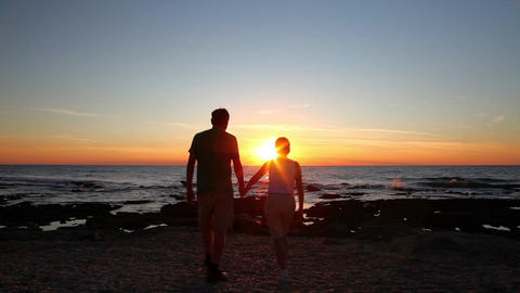 Man And Woman Admiring The Sunset stock footage