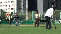 Japanese elderly play gateball in Tokyo Footage