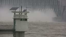 Lighthouse In Front Of Three Gorges Dam stock footage