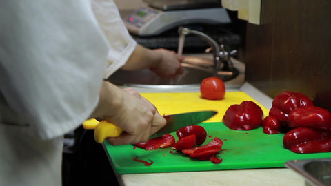 Slicing Red Pepper Close-up Footage