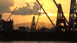 Container Ship, Sunset, Harbor, Hong Kong stock footage