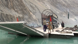 Pakistani government vessel at Attabad lake Footage