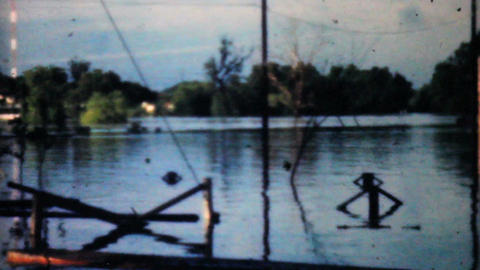 Flooded River In Dallas 1948 Vintage 8mm Footage