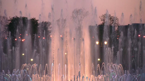 evening fountain zoom Footage